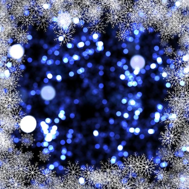 Weihnachtshintergrund von bokeh lichtern und schneeflocken Kostenlose Fotos