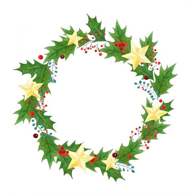 Weihnachtskranz oder -rahmen mit den stechpalmenbeeren, -blättern und -goldenen sternen gemalt im aquarell Premium Fotos