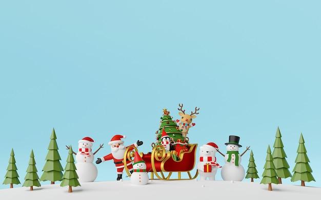 Weihnachtsmann und freunde mit schlitten voller geschenke im kiefernwaldhintergrund Premium Fotos