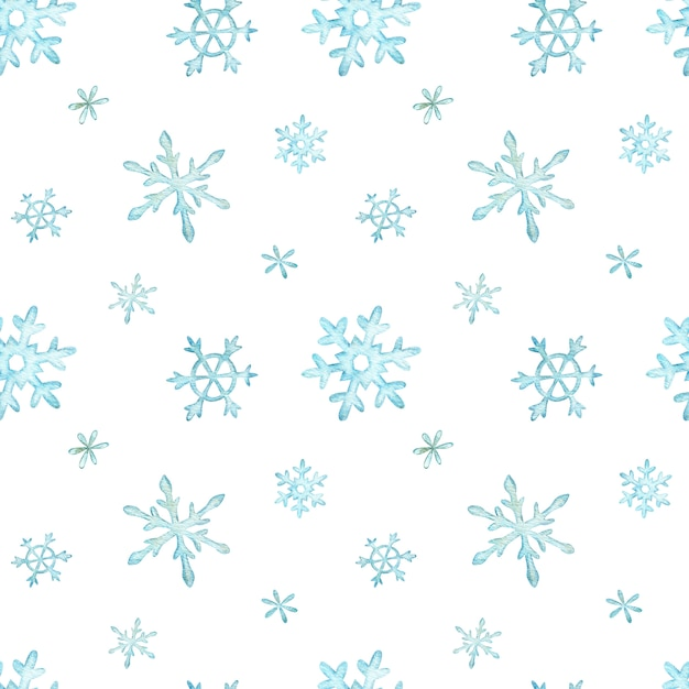 Weihnachtsmuster von hellblauen fallenden schneeflocken. winter hintergrund. aquarell weihnachten illustration. Premium Fotos