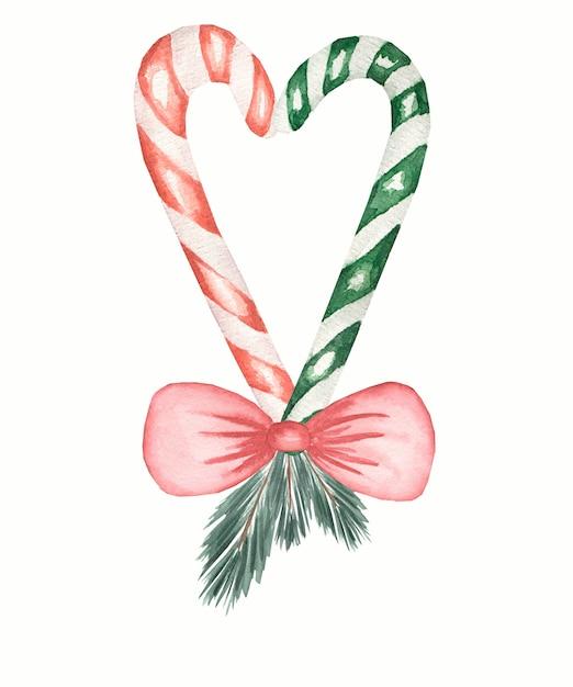 Weihnachtszuckerstange in der roten und grünen farbe mit dem roten bogen und tanne lokalisiert, hand gezeichnete illustration. Premium Fotos