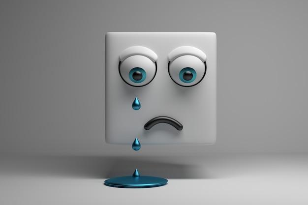 Weinender charakterwürfel mit traurigem gesicht Premium Fotos