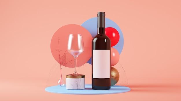 Weinflasche und glasmodell 3d rendering-modell Premium Fotos