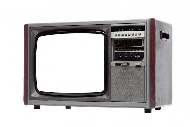 Weinlese fernsehapparat mit dem weißen unbelegten bildschirm getrennt auf weiß. Premium Fotos