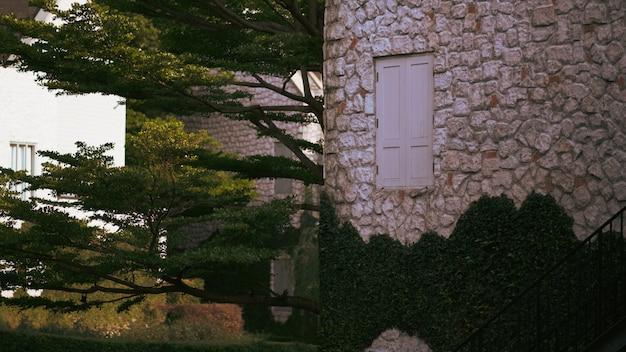 Weinleseartfenster, wand des hauses mit einem geschlossenen fenster gelassen und details. Premium Fotos