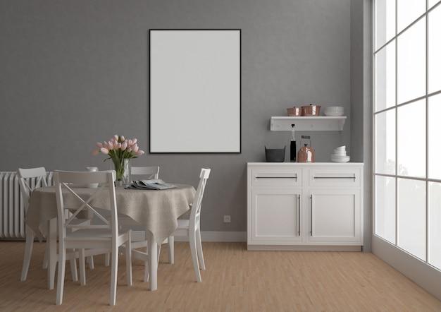 Weinleseküche mit vertikalem rahmen, grafikhintergrund, innenmodell Premium Fotos