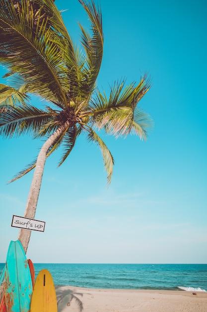 Weinlesesurfbrett mit palme auf tropischem strand im sommer. vintage-farbton Premium Fotos