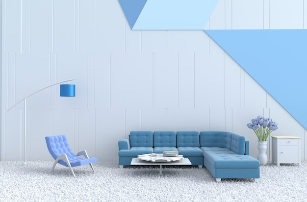 Weiß-blaues wohnzimmer, blauer sessel, sofa, teppich, tulpe. weihnachten, neujahr. 3d ren Premium Fotos