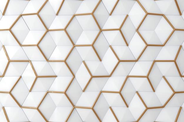 Weiß und wand des gold 3d für hintergrund Premium Fotos