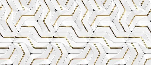 Weiße 3d-wandpaneele mit golddekor mit schattierten geometrischen modulen Premium Fotos