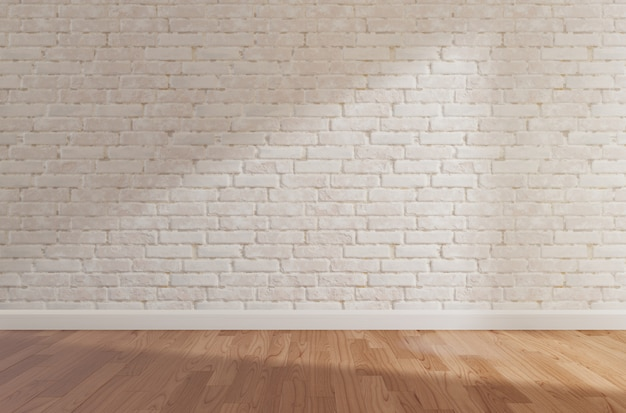Weiße backsteinmauer und bretterboden, verspotten oben, kopienraum Premium Fotos