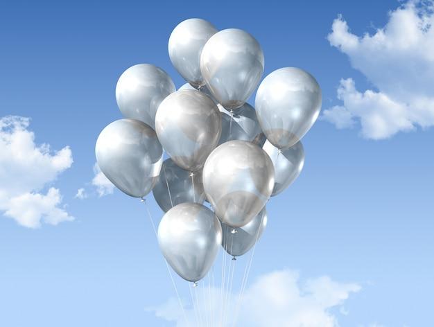 Weiße ballone auf einem blauen himmel Premium Fotos