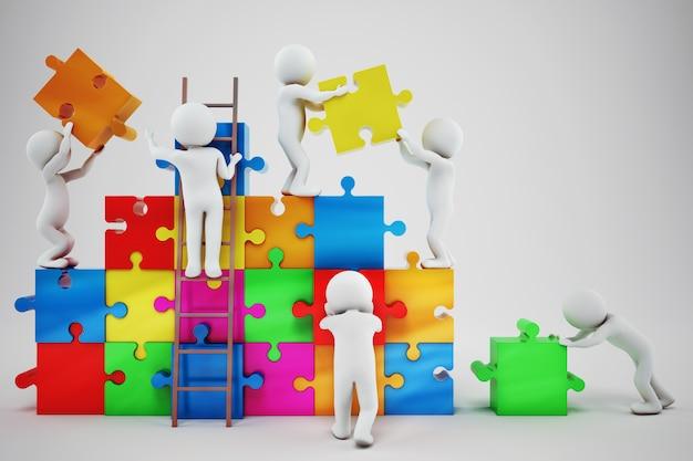 Weiße bauen eine firma auf. konzept der partnerschaft und teamarbeit. 3d-rendering Premium Fotos