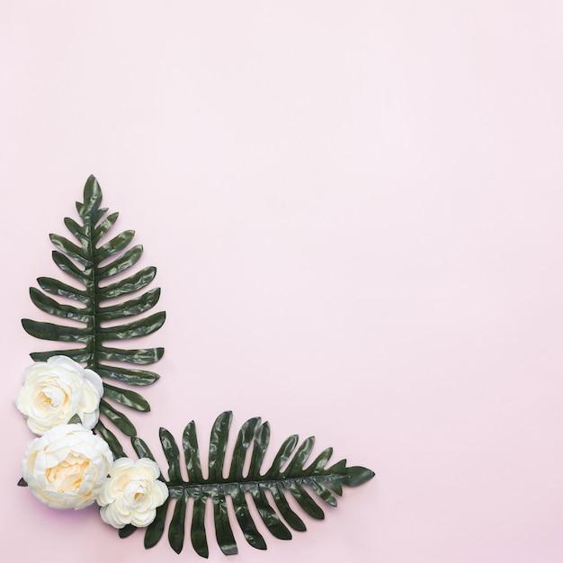 Weiße blumen und grüne blätter rahmen-zusammensetzungs-rosa-hintergrund Kostenlose Fotos