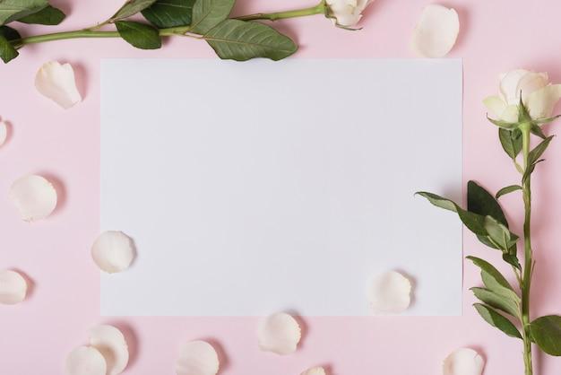 Weiße blumenblätter und rosen auf papier über rosa hintergrund Kostenlose Fotos