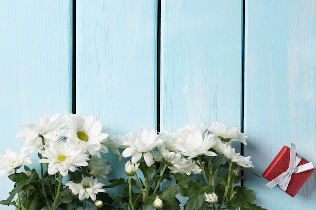 Weiße chrysantheme blüht mit geschenkbox auf nettem blauem hölzernem hintergrund Premium Fotos