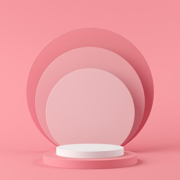Weiße farbe der abstrakten geometrieform und rosa farbpodium auf rosa farbhintergrund für produkt. minimales konzept. 3d-rendering Premium Fotos