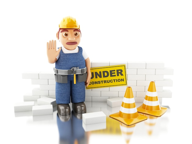 Weiße leute 3d, die eine backsteinmauer errichten. Premium Fotos