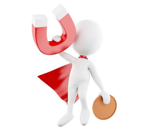 Weiße leute 3d mit rotem kap und hufeisenmagneten Premium Fotos