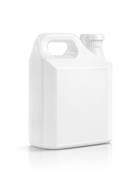 Weiße plastikgallone der leeren verpackung lokalisiert Premium Fotos