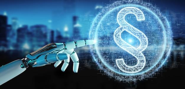 Weiße roboterhand unter verwendung der digitalen wiedergabe des hologramms 3d des gesetzesparagraphen Premium Fotos