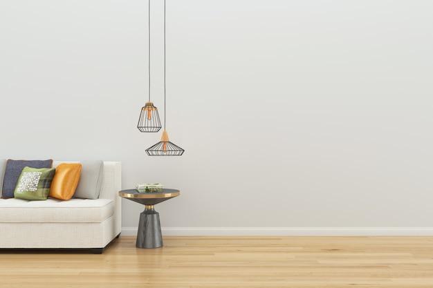 Weiße sofa wand holz stuhl lampe steinboden holz wohnzimmer ...