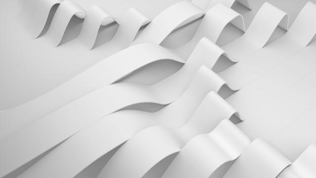 Weiße streifenfalten auf einer oberfläche. verformte gefaltete oberfläche mit weichem licht. moderner heller hintergrund mit falten im minimalistischen stil. 3d-render-illustration. Kostenlose Fotos