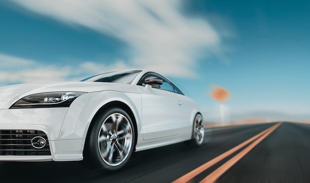 Weiße vordere autos, die auf der straße laufen. Premium Fotos