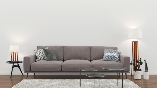 Weiße wand holzfußboden des inneren wohnzimmers innensofastuhllampe Premium Fotos