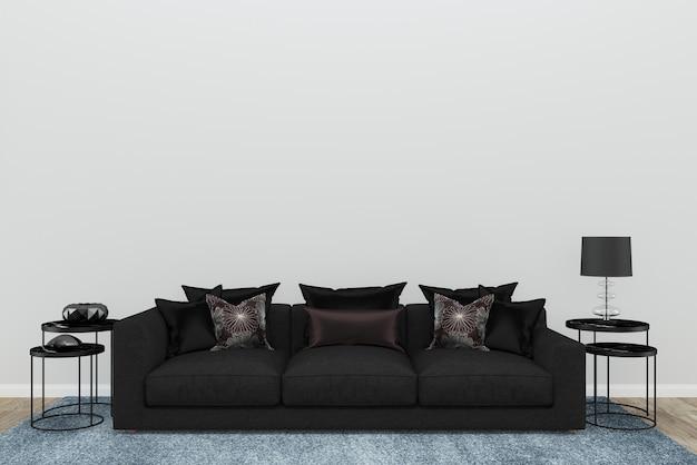 Weiße Wand Schwarz Sofa Wohnzimmer Alten Holzboden Blauen Teppich  Hintergrund Textur 3D Premium Fotos