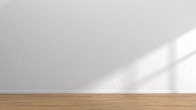 Weiße wandschablone des leeren innenraumholzfußbodens Premium Fotos