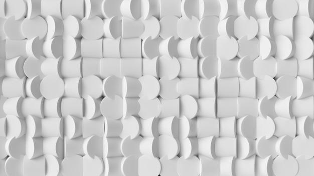 Weiße zylinder des abstrakten hintergrundes mit dynamischen zylindern 3d. Premium Fotos