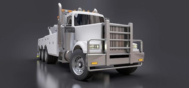 Weißer abschleppwagen für den transport anderer großer lkws oder verschiedener schwerer maschinen Premium Fotos
