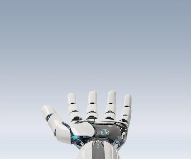 Weißer cyborg, der seine hand öffnet Premium Fotos