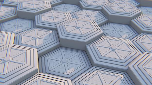 Weißer geometrischer sechseckiger abstrakter hintergrund. abbildung 3d Premium Fotos