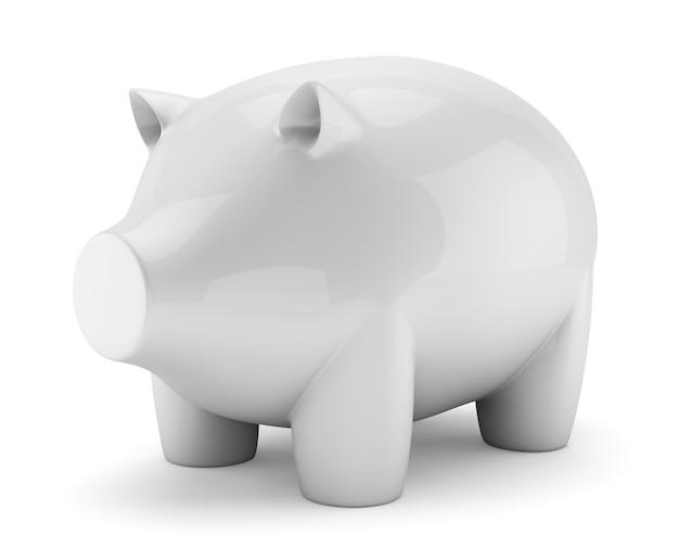 Weißer keramischer schweingeldkasten getrennt auf weiß Premium Fotos