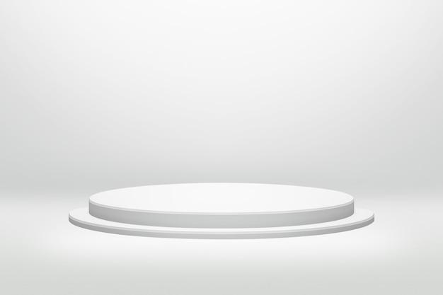 Weißer podiumstand in der runden form mit zylinderkonzept auf modernem raumhintergrund Premium Fotos