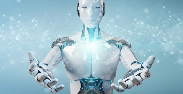 Weißer roboter, der sich hin- und herbewegende digitale netzwerkverbindungen mit punkten und linien verwendet Premium Fotos