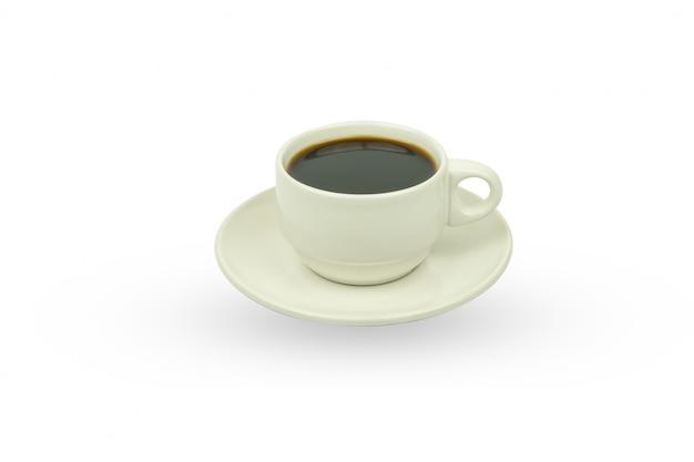 Weißer tasse kaffee, isolat auf weiß Premium Fotos