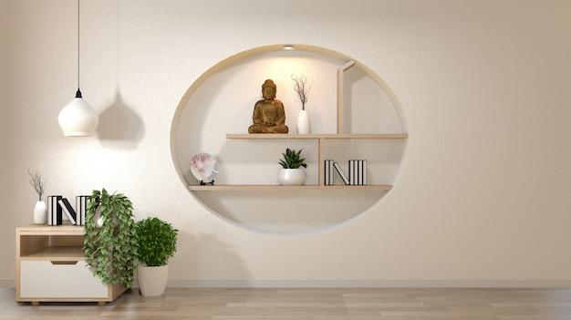 Weißer wandspott herauf leeren raum mit buch und vase und anlagen auf kabinett, decoaration auf japanischer art des regalwand-designs. Premium Fotos