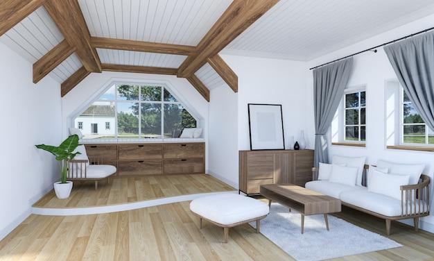 Weißer wohnzimmerinnenraum mit holzmöbeln und boden der aufgeteilten ebene, wiedergabe 3d Premium Fotos
