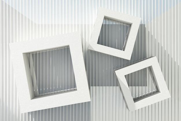 Weißer zementtexturrahmen mit sonnenlicht auf weißem blechhintergrund. Premium Fotos