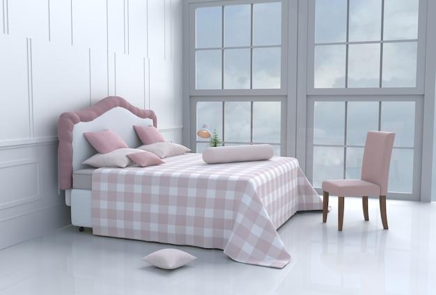 Weißes bettraumdekor mit kissen, decke, fenster, himmel, lampe, stuhl, zementboden. Premium Fotos