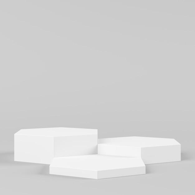 Weißes farbpodium der abstrakten geometriehexagonform auf weißem hintergrund für produkt. minimales konzept. 3d-rendering Premium Fotos