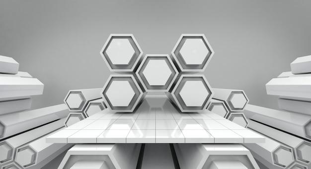 Weißes futuristisches hexagon und leerer stadienhintergrund, wiedergabe 3d Premium Fotos