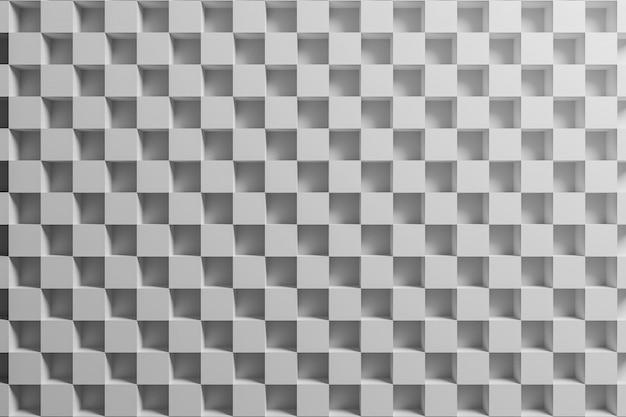 Weißes kariertes geometrisches muster der 3d-illustration von pyramiden. Premium Fotos