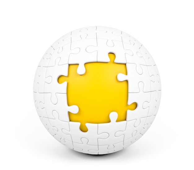 Weißes kugelförmiges puzzlespiel mit fehlenden stücken auf weißem hintergrund, wiedergabe 3d Premium Fotos