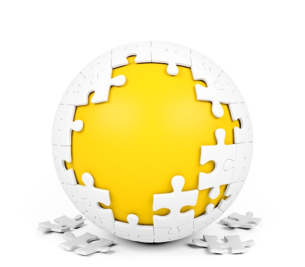 Weißes kugelförmiges puzzlespiel mit fehlenden stücken auf weißem hintergrund Premium Fotos