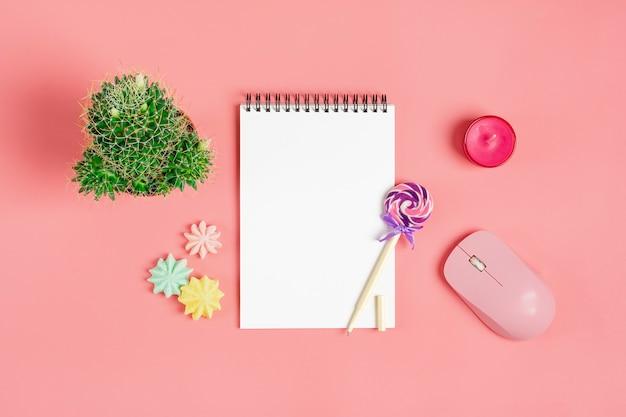 Weißes notizbuch für anmerkungen, meringe, stift - lutscher, hauptblumensucculent auf rosa hintergrund Premium Fotos