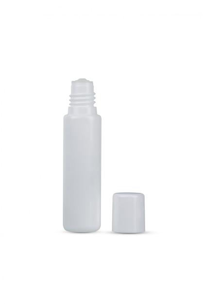 Weißes plastikauge lässt die flasche fallen, die auf weiß lokalisiert wird Premium Fotos